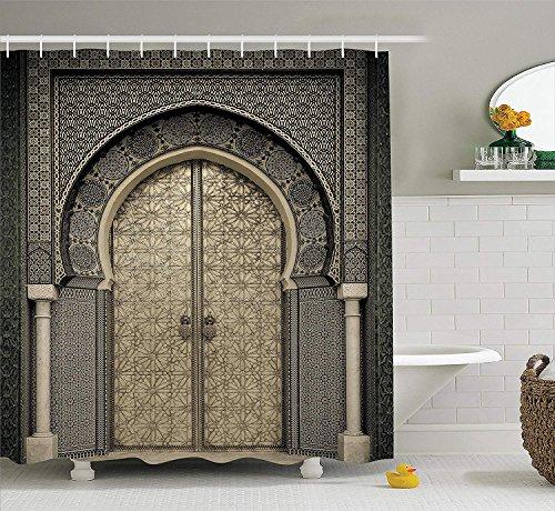Nyngei Marokkanischen Dekor Duschvorhang Set Alter Tor Geometrische Muster Tür Design Eingang Architektonischen Orientalischen Stil Bad-Accessoires 180 cm Extralong