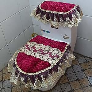 Veloursleder-Dreiteilige Spitze-Stickerei-Gewebe-Reißverschluss-Toiletten-Auflage-Sitzkissen-Ringe-Wasser-Behälter-Abdeckung,A4