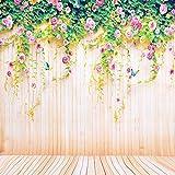 PHOTO MASTER Fotohintergrun Stoffhintergrund Fotografie Portrait Tuch Vinyl Hintergrund 7 x 5 ft (2,1 m x 1,5 m) pastoralen Stilgelb Holzboden Blumen Wand Hintergrund passend für Porträt oder Video