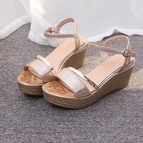 Webla Sommer Muffin Fisch Kopf Frauen Sandalen Platform Sandalen Einfache Schuhe Shook Gold