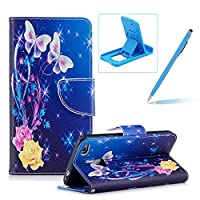 Leather Case for Huawei P8 Lite 2017,Flip Wallet Cover for Huawei P8 Lite 2017,Herzzer Stylish Pretty Butterfly Pattern Magnetic Closure Purse Folio Smart Stand Cover with Card Cash Slot Soft TPU Inner Case for Huawei P8 Lite 2017 + 1 x Free Blue Cellphone Kickstand + 1 x Free Blue Stylus Pen