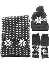 BEETEST 3 Pcs mujeres hilado de lana invierno Navidad copo de nieve gorro  guantes bufanda Set 90129e4e2dad