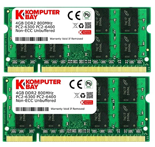 Komputerbay 8GB (2x 4GB) PC2-6400 DDR2 800MHz SODIMM Dual Channel Laptop-Speicher-Kit Laptops 4 Gb Ram