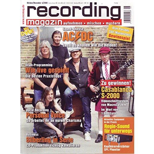 Recording Magazin 6 2008 mit DVD - Gitarre & Vocals im Mix Videoseminar - Sound Analyse AC/DC - aufnehmen - mischen - mastern