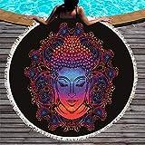Toalla de Playa Redonda con Plumas Impreso Yoga con Borla Manta de Picnic de Microfibra India