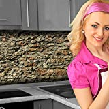 Küchenrückwand < Steinmauer > Premium Hart-PVC 0,4 mm selbstklebend 400x80cm