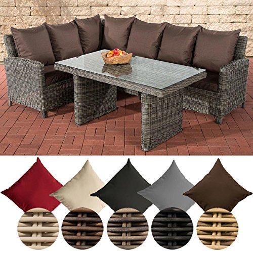 CLP Poly-Rattan Garten-Sitzgruppe BERMEO 5 mm, Eckbank + Esstisch 140 x 80 cm, 6 Plätze Rattan Farbe grau-meliert, Bezugfarbe: Terrabraun