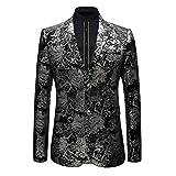 GOMY Slim Fit Herren Bunter Sakko Muster Casual Blazer Jacke Hochzeit Party (2XL, Silber)