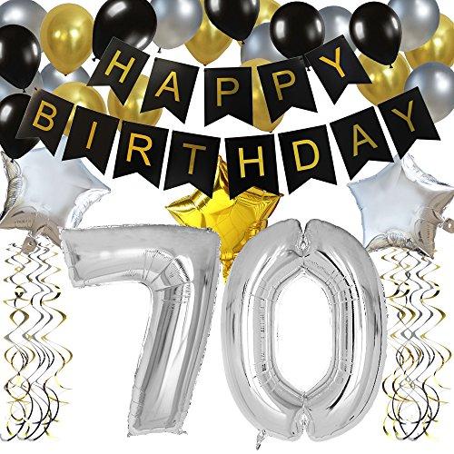 burtstag Party Dekorationen Satz- Schwarz Happy Birthday Banner ,Silber 70 Mylar Folienballon, Star & Latex Ballon,Hängende Wirbel,Perfekt Party Zubehör Für 70 Jahre Alt. (70 Geburtstag Party)