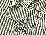 Inlett Streifen gewebt Baumwolle Möbelstoff Dark Olive Grün–Meterware