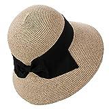 SIGGI beigemix Sonnenhut Strandhut Sun Shade Hut Sonnenschutz mit breite Krempe für Damen