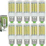 MENGS® Pack de 10 Bombilla lámpara LED 9 Watt E27, 69x 5050 SMD, Blanco Cálido 3000K, AC 220V-240V