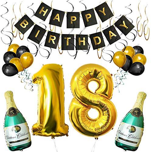 """thday Luftballons Banner Dekoration Set zum 18. Geburtstag Umfasst Aufblasbare Champagnerflaschen, 101,6cm Gold Nummer """"18"""" u. Ballons - Dekoratives Party Zubehör Deko Set ()"""