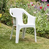 "Resol ""Cool"" Garden Outdoor / Indoor Designer Plastic Chairs - White - Garden Furniture (Pack of 8 chairs)"