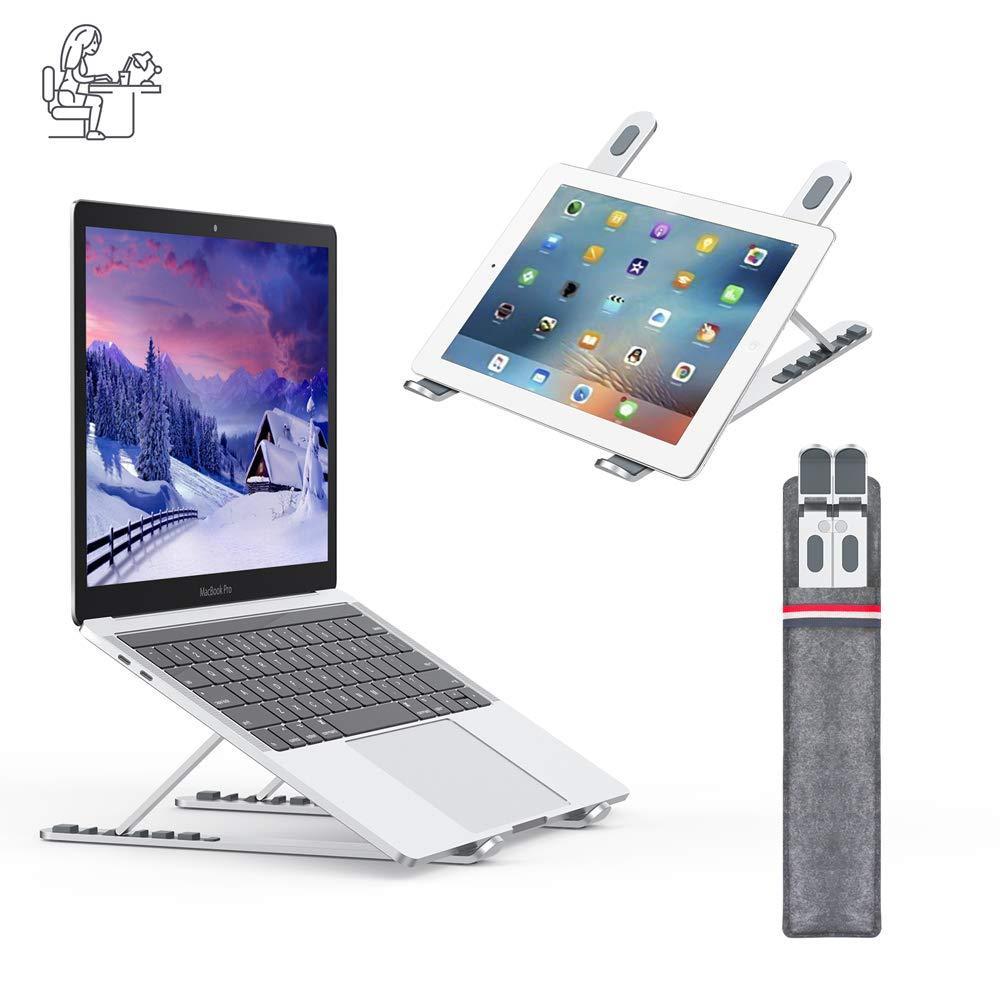 Nulaxy Laptop Stand, Soporte Portatil Mesa Aluminio Ergonomico, Elevador Ventilado para Macbook, iPad y DELL, HP, Samsung, Lenovo, Ajustables Portátiles de 10 Pulgadas a 15.6 Pulgadas, Plateado