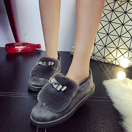 Fortuning's JDS Femmes Fille d'épissage de la fourrure Bow chaussures plates Grève grêle Bottes de neige Gris
