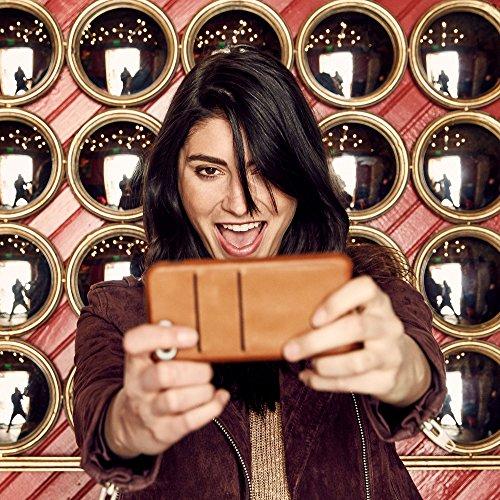 Twelve South Relaxed Coque en cuir, noir | Étui en cuir avec des poches pour iPhone 8 & iPhone 7 Cognac