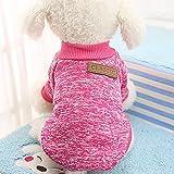 HMOCNV 1pz Cane Inverno Classico Caldo Vestiti Maglione Cane Maglione Pullover Cucciolo Vestito Animali Gatto Giacca - Rosso Rosa, XS
