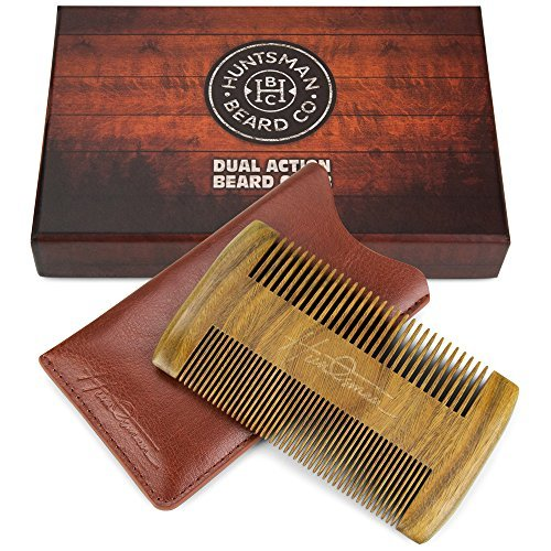 Dual Action Beard Comb - Perfect for Balms and Oils - Sandalwood...