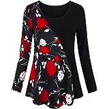 VEMOW Sommer Herbst Elegant Damen Oberteil Langarm O Neck Printed Flared Floral Beiläufig Täglich Geschäft Trainieren Tops Tunika T-Shirt Bluse Pulli