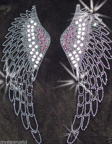 Fairy Angel Wing D Pink Gothic Bügelbild rhinesetone Kristall Patch-T-Shirt (Fairy Wings Gothic)