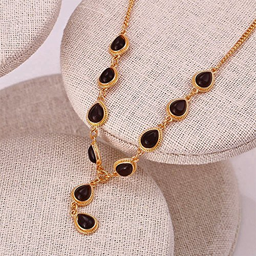 Neu: Modeschmuck Xuping Halskette Halsband Kette Schmuck Anhänger Damen Edel Strassstein Schwarz Gold Strass 40 - 45 cm