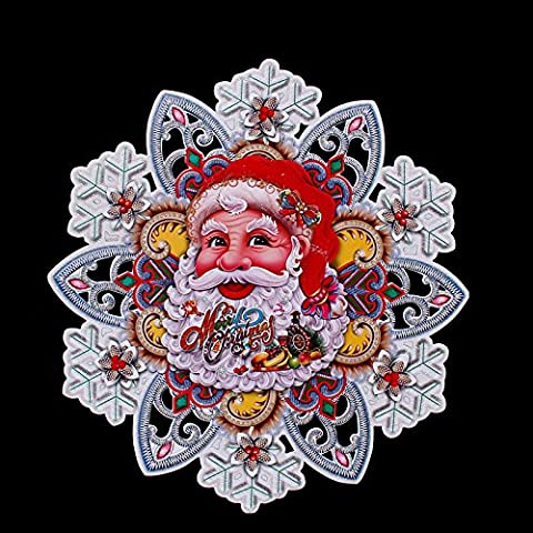 5pcs Natale fiocco di neve decorativo fiocco di neve dimensionale adesivi da due decorazioni di Natale di finestra adesivi adesivi bifacciale