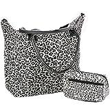 Mesdames Femmes Plage Shopping Sac bandoulière imprimé animal et petits animaux Imprimer constituent sac (Leopard Blanc)