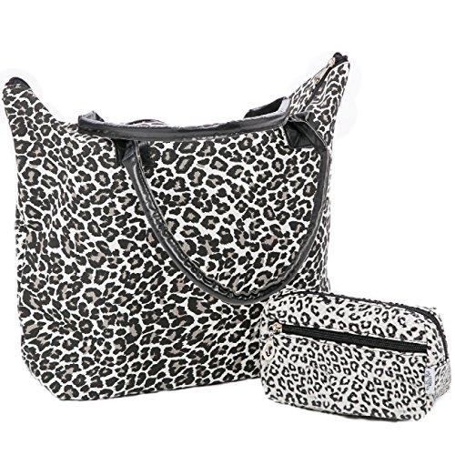 Ladies Spiaggia Borsa a tracolla stampa animalier e piccolo animale stampa trousse SET (Reticolo della zebra) Modello leopardo