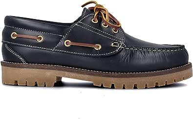PAYMA - Chaussures Bateau Homme Femme Enfant Garçon Unisexe en Cuir Spécial Seahorse Huilé. 3 Oeillets Lacet at Velcro Classique Docksides. Semelle en Caoutchouc Varièes. Coleurs Brun, Bleu et Noir