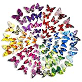 Goodlucky365 72 Piezas 3D Mariposa Pegatinas de Pared Etiquetas Engomadas Mariposas Decoración de la Pared Para Hogar Casa Habitación (12 Azules,12 Pú