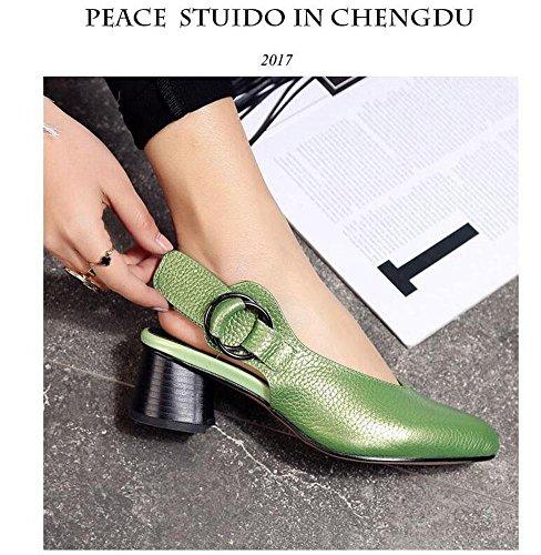 Spitz-Zehen-Pumpe Flache Mund Slingback Sandalen Große Größen Schuhe Leder Schuhe Für Frauen Green