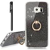 Galaxy S6 Edge Hülle,Hülle Transparent Silikon Glitzer Papier 2 in 1 Schutzhülle Smartphone Halter Ständer Ringhalter Metall Ring Hülle Kompatibel mit Samsung Galaxy S6 Edge