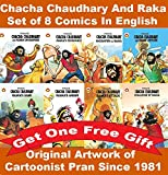 Chacha Chaudhary Comics Collection of 8 Comics of Raka in English + Free Gift: Original Artwork by Cartoonist Pran Since 1981 Published by Diamond Comics