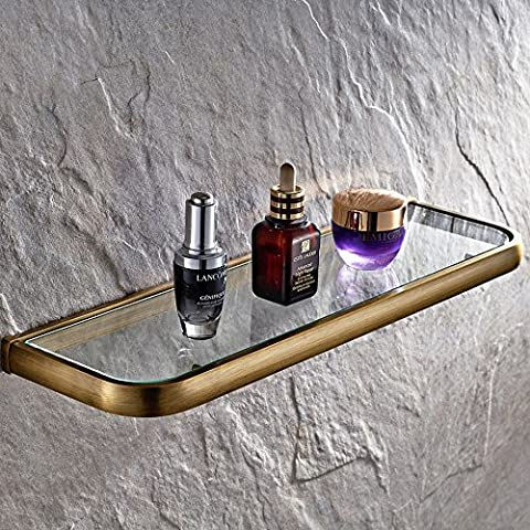 Weare Home Retro Bathroom Accessories Solid Brass Antique Brass Finished Glass Bathroom Shelf Towel Holder Towel Bars Towel Rack Wall maounted