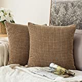 MIULEE Set of 2 Corduroy Soft Pellets Solid Decorative Square Throw Pillow Covers Cushion Case For Sofa Bedroom Car 18 * 18 Inch (45 x 45 cm, brown, 45 x 45 cm