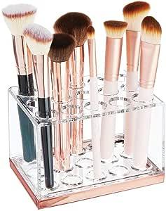 mDesign Funzionale organizer cosmetici – Pratico contenitore per prodotti cosmetici come mascara e pennelli – Porta trucchi con 15 scomparti – trasparente e oro rosato
