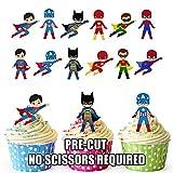 Vorgeschnittene Superhelden Gruppe Party Packung - Essbare Cupcake Topper / Kuchendekorationen (36 Stück)