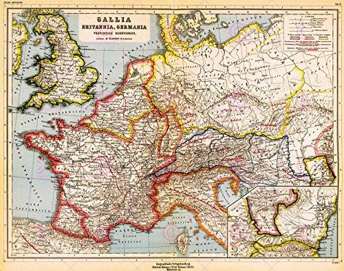Doppelganger33 LTD Map Antique Kiepert 1903 Roman Provinces Europe Replica Canvas Art Print -