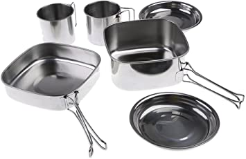 Segolike 1-2 Person Outdoor Picnic Cookware Camping Backpacking Cooking Pot Pan Set (6Pcs, Stainless Steel)