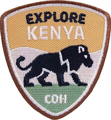 Club of Heroes 2 x Kenia Abzeichen 55 x 60 mm/Entdecke Kenya Löwe Trekking Reise Afrika Safari/Aufnäher Aufbügler Sticker Patch/Reiseführer Wanderführer Karte Tansania Südafrika Namibia - Patch Tansania