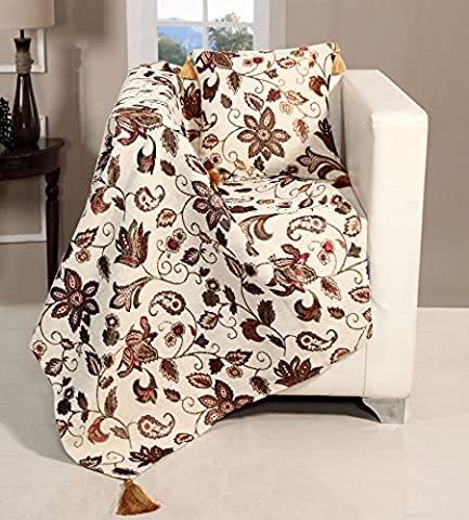 EHC Vintage Chenille Jacquard Floral Throw for Sofa Armchair Bed, 127 x 152 cm ( Includes Cusion Cover & Cushion Insert