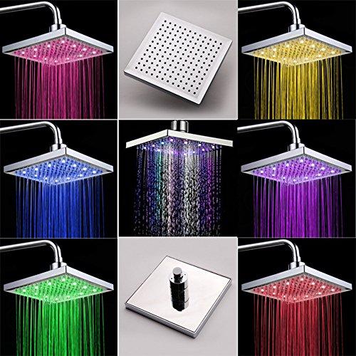 """Preisvergleich Produktbild 8"""" Duschpaneel Regendusche Badamatur Duschset mit LED Lampe RGB Farbig OHNE Akku, automatischer Farbwechsel, Antikalk"""