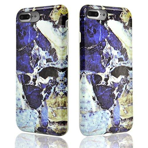 iPhone 8 Plus Hülle, iPhone 8 Plus Marmor Handyhülle, iPhone 8 Plus Marble Hülle, Sunroyal Marmor Serie Flexible TPU Silikon Schutz Handy Hülle Handytasche HandyHülle Schale Case Cover Schutzhülle für Farbe 47