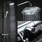 Elegant Chrom Überkopf-Brauseset rain Duschsystem Duschstange mit Brausethermostat Regendusche Duschset inkl. Handbrause und Regenbrause