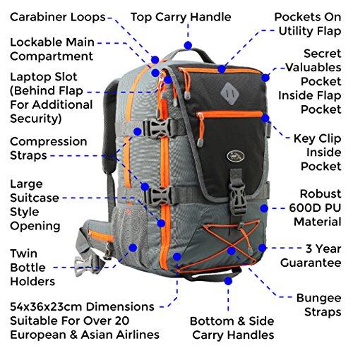 Equator Backpacking Cabin Luggage – Flight Approved Backpack, with integrated Rain cover, waist and chest straps. (Black/Grey)