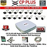 CP Plus 16-Channel DVR Kit with 2-TB Hard Disk , 2-PC 2.4 MP Dome Camera , 14 Piece Bullet Camera, Feecom 16-Ch Power Supply ,Wire Roll Combo Set
