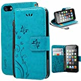 Coque iPhone 5 SE 5S,Etui Cuir iPhone 5 SE 5S, KUAWEI Butterfly Flip...