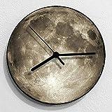 KIKI Moon Orologio Da Parete Moderno Creativo Tridimensionale Rotondo Silenzioso Orologio Al Quarzo Camera Da Letto Soggiorno Cucina Ufficio 12 Pollici , grigio