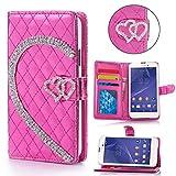 Book Style Design Handy Tasche Karo Metallic mit Visitenkartenfunktion und Strass Herzen Flip Cover Schutz Hülle Schale Klapp Etui Case Modern Bag für Sony Xperia Z1 Compact (D5503) in Pink